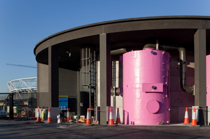 Pink carbon filters being installed on the Olympic Park site